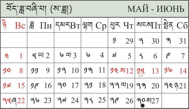 Тибетский календарь на год